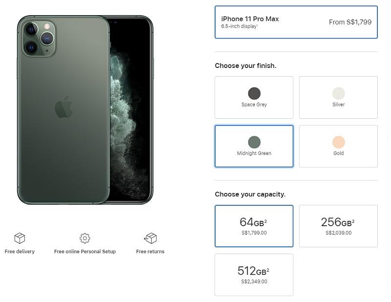 Apple  iPhone 11 Pro Max التسعير المحلي. (مصدر الصورة: Apple متجر)
