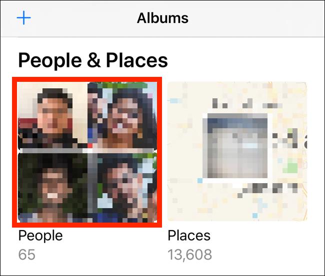 اضغط على ألبوم الأشخاص من علامة تبويب الألبومات