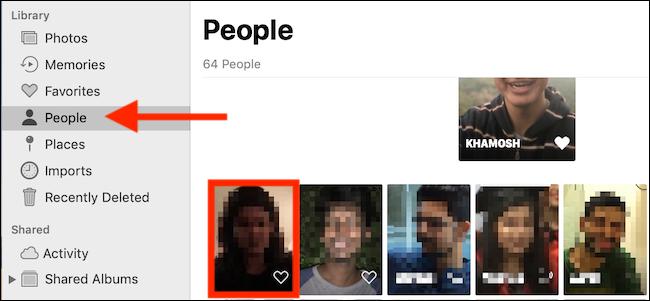 حدد علامة التبويب أشخاص ، ثم انقر فوق وجه