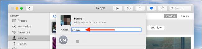 إضافة الاسم في مربع النص في تطبيق الصور على Mac
