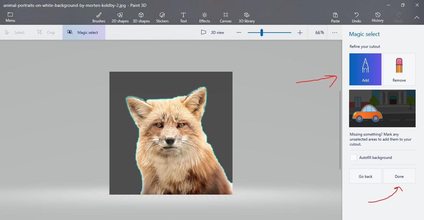 صقل خلفية صورة في Paint 3D windows 10
