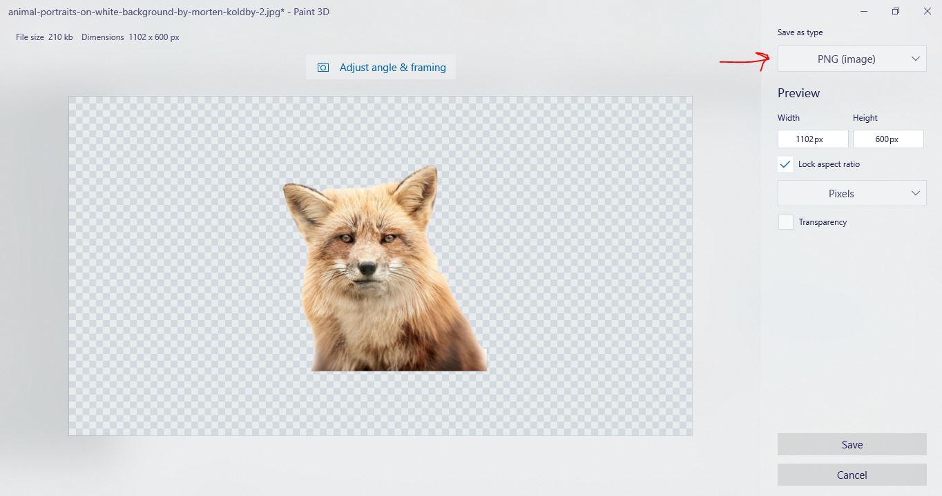 حفظ الصورة بتنسيق PNG الشفاف على Paint 3D