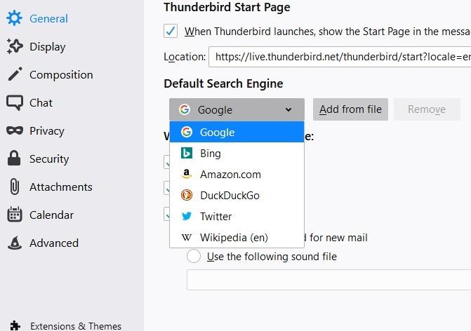 إضافة محرك البحث جوجل من الخيارات العامة ثندربيرد