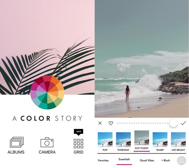 لقطات من قصة اللون ، و Instagram مرشحات التطبيق