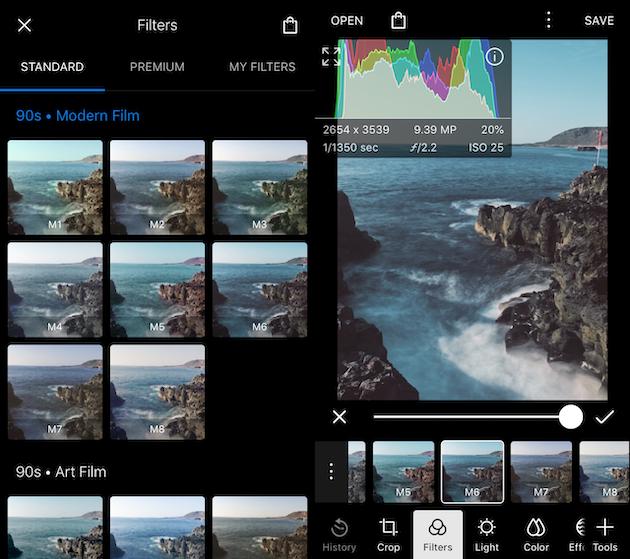 لقطات من Polarr ، تطبيق مرشح صور لـ iPhone