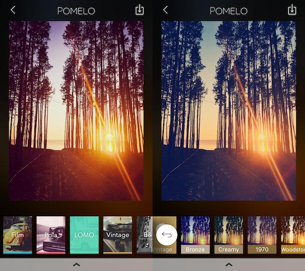 لقطات من Pomelo ، تطبيق مرشح لـ iPhone