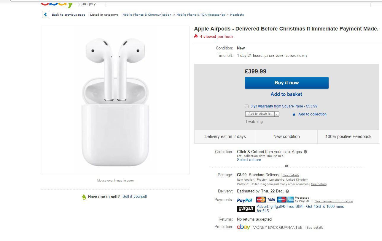 Apple  تم جلد Airpods لأكثر من 399 جنيه إسترليني على موقع eBay بعد بيعها في جميع أنحاء العالم