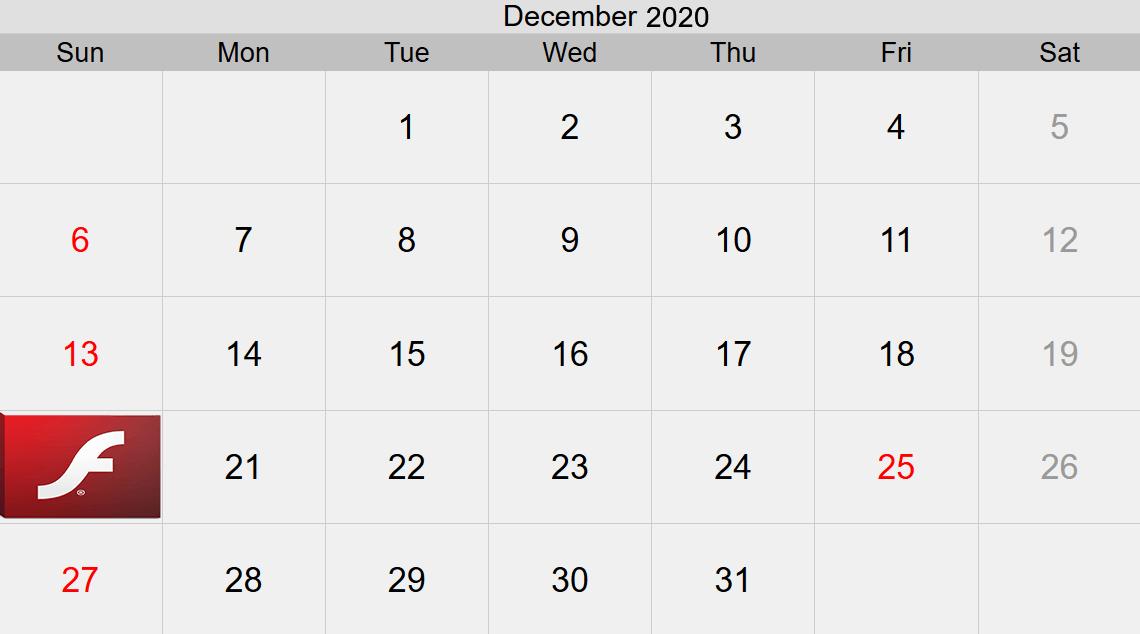 فلاش 2020 التقويم