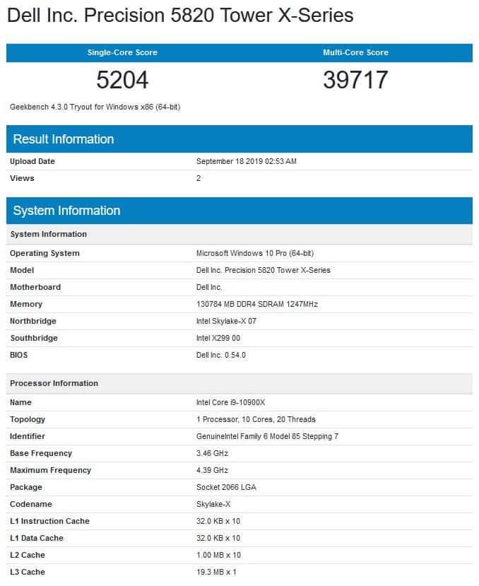 ضربت المعايير الأولى من Intel Core i9-10900X الإنترنت! 1