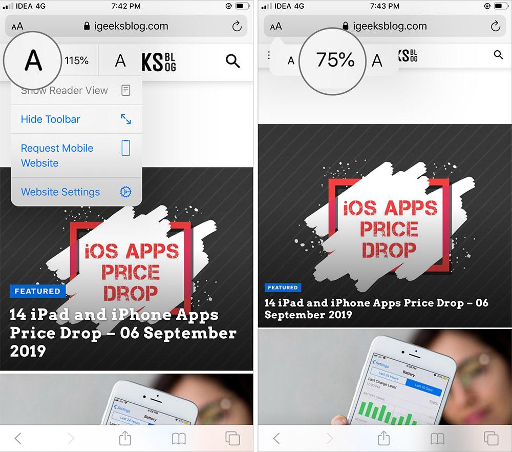 اضغط على أيقونة الخط لجعل النص أصغر في Safari على iPhone