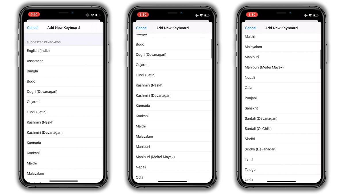 iOS13 keyboardsIndia iOS 13