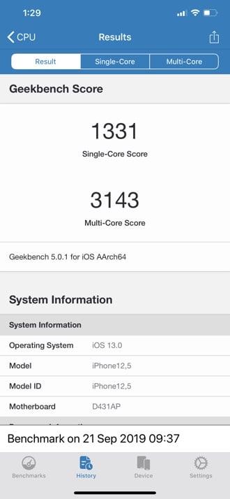 iPhone 11 Pro Max Geekbench 5 - النتيجة أحادية النواة ومتعددة النواة