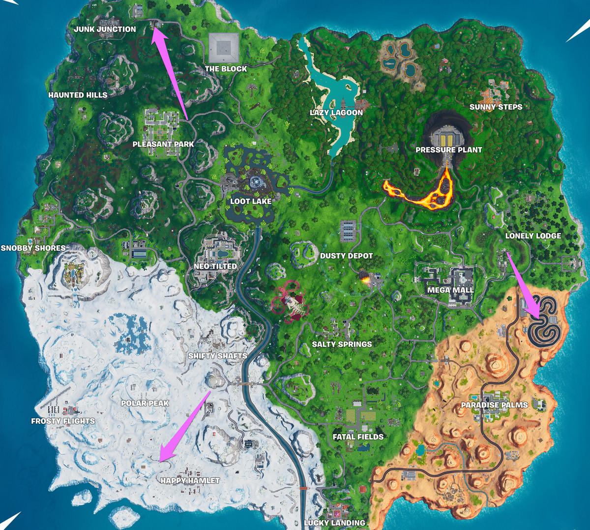 أ Fortnite الخريطة مع مواقع ثلاثة مضامير السباق