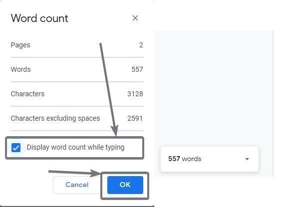 عرض عدد الكلمات أثناء الكتابة على محرّر مستندات Google 3 4