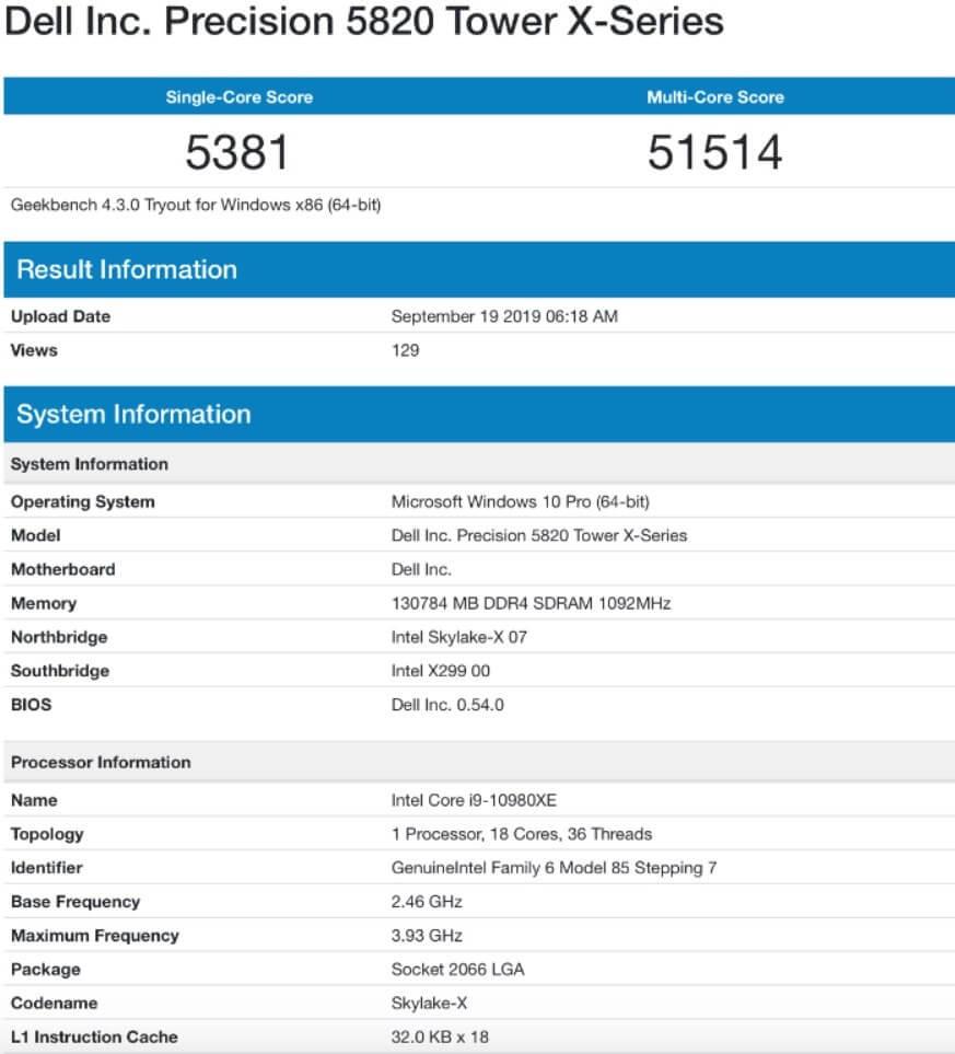 تظهر وحدات المعالجة المركزية Cascade Lake-X Core-i9 من Intel على Geekbench 1