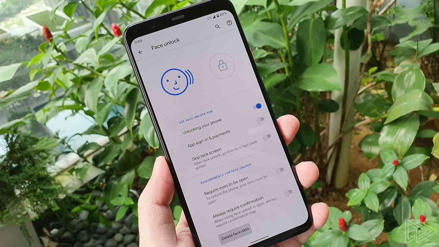 Pixel 4 XL Face Unlock settings