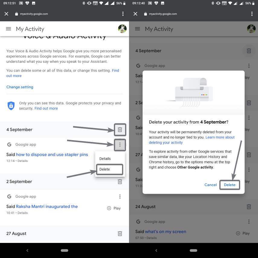 حذف تسجيلات نشاط Google Voice و Audio