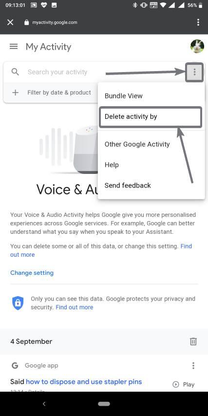 حذف جميع تسجيلاتك الصوتية التي جوجل