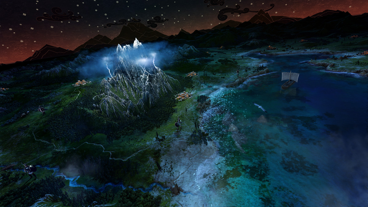 صاعقة تضرب جبلًا ليلًا على خريطة عالم A Total War Saga: Troy.