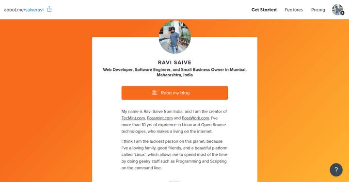 About.Me: إنشاء صفحة ويب شخصية مجانية للعلامات التجارية 1