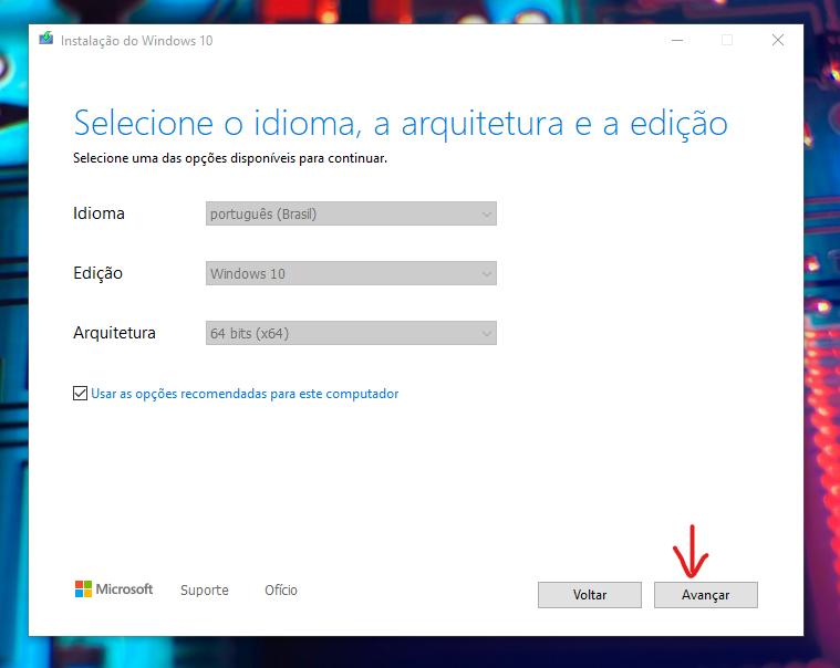 نافذة مع تحديد إعدادات Windows 10