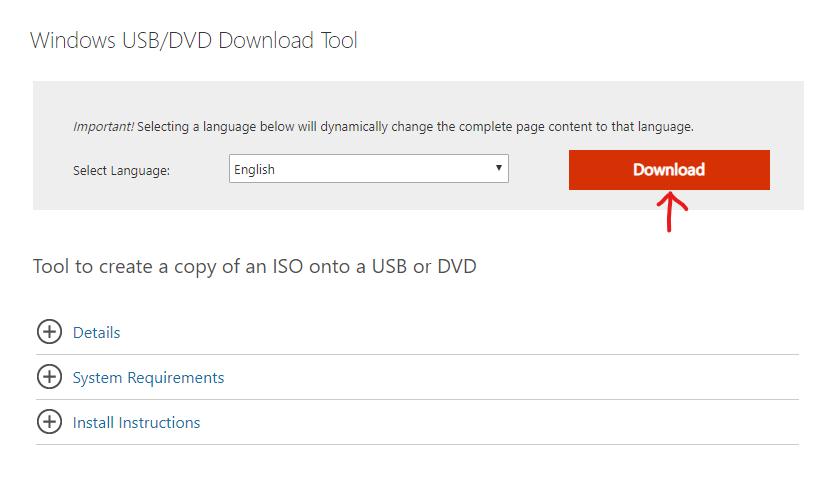 صفحة التحميل Windows أداة تحميل USB / DVD