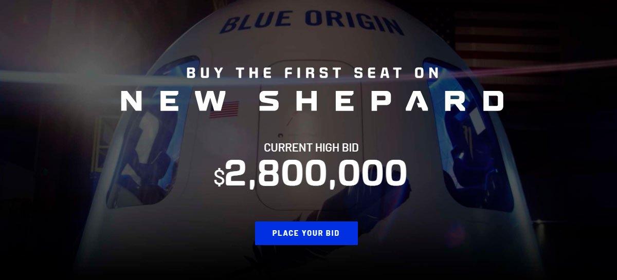 بلغ أول مزاد لهجة لشركة Blue Origin 2.8 مليون دولار أمريكي 1