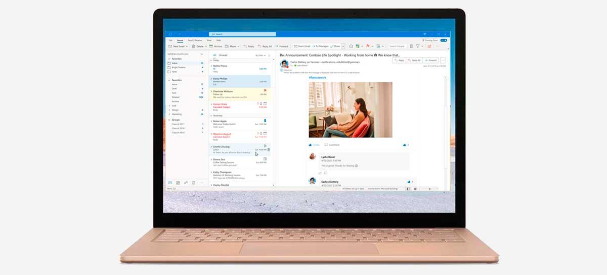 تكشف Microsoft النقاب عن صورة تطبيق Outlook جديدة لـ Windows 10 1