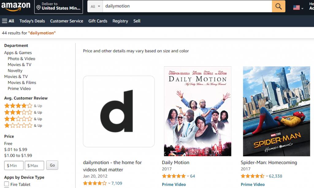 حدد تشغيل Dailymotion Amazon موقع الكتروني