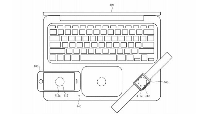 Apple براءة اختراع MacBook مع الشحن اللاسلكي لأجهزة iPhone و iPad و Watch 2