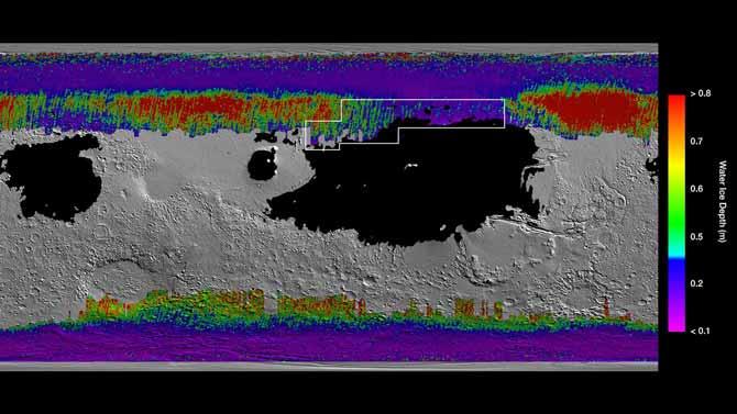 ناسا تنشر خريطة بالأماكن التي يمكن الوصول إلى الماء فيها على المريخ 2
