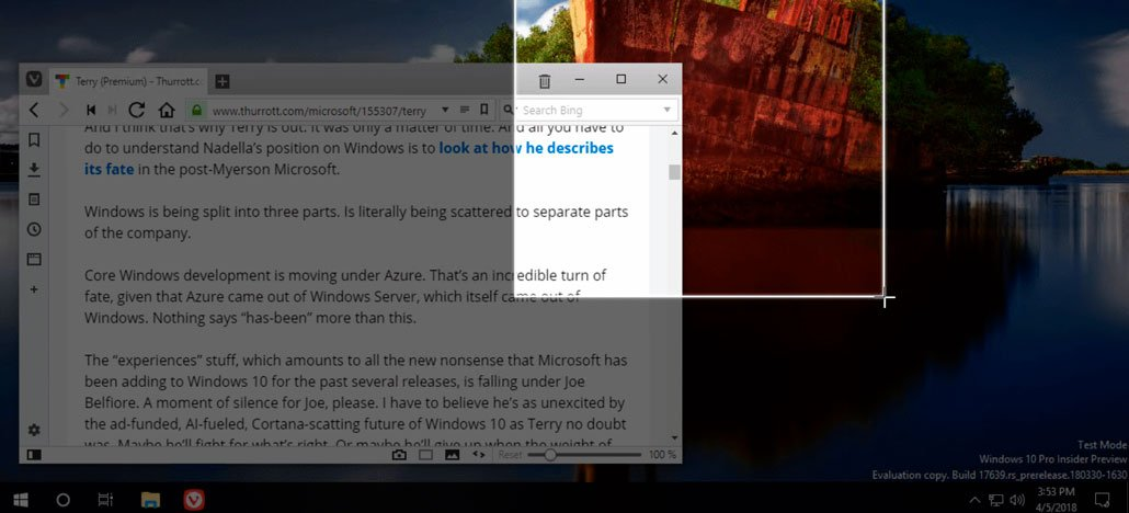 Windows 10 سيكون لديه أداة لقطة شاشة في مركز العمل 1